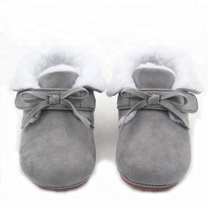 2018 hot sell winter warm plush baby booties kids soft leather shoes