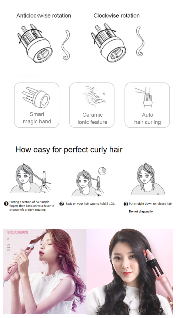 2019  best sell auto matic mageic ceramic  hair curler
