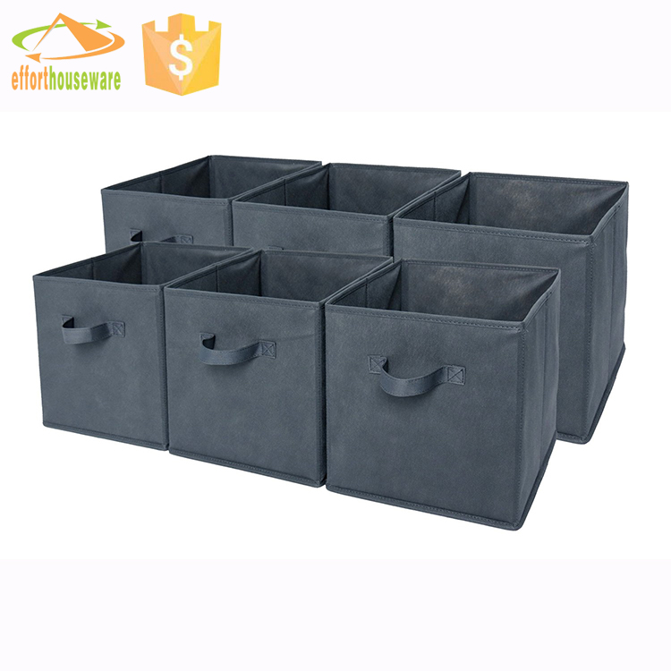 Grey Foldable Cloth Storage Cube Basket Bins Organizer Containers Drawers