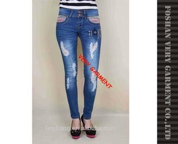 Ladies Jeans Top Design Beaded Skinny Latest Jeans Tops Girls ...