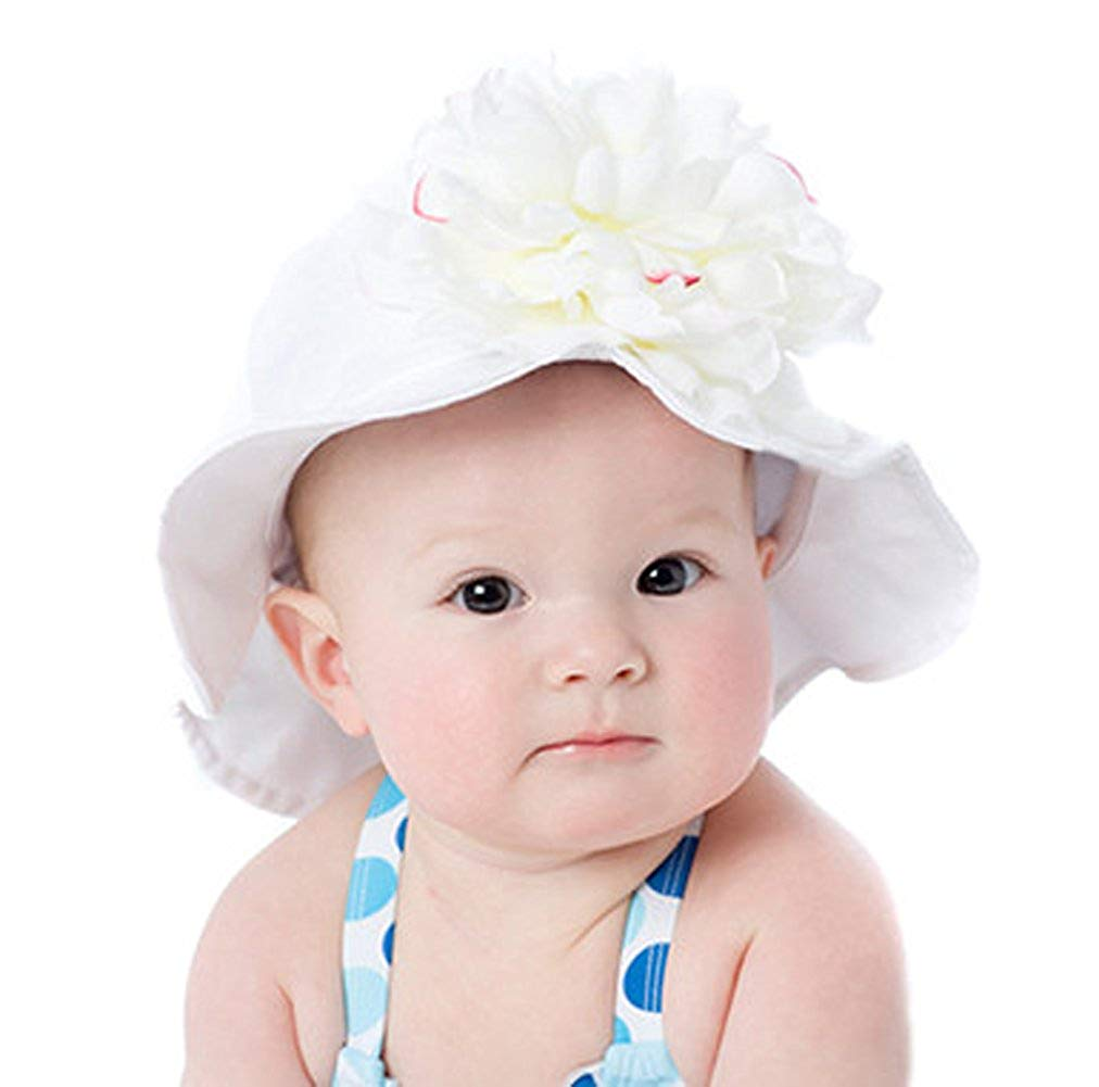 e5d7b9192ac Get Quotations · Melondipity White Baby and Toddler Girl Sun Hat with White  Peony Flower