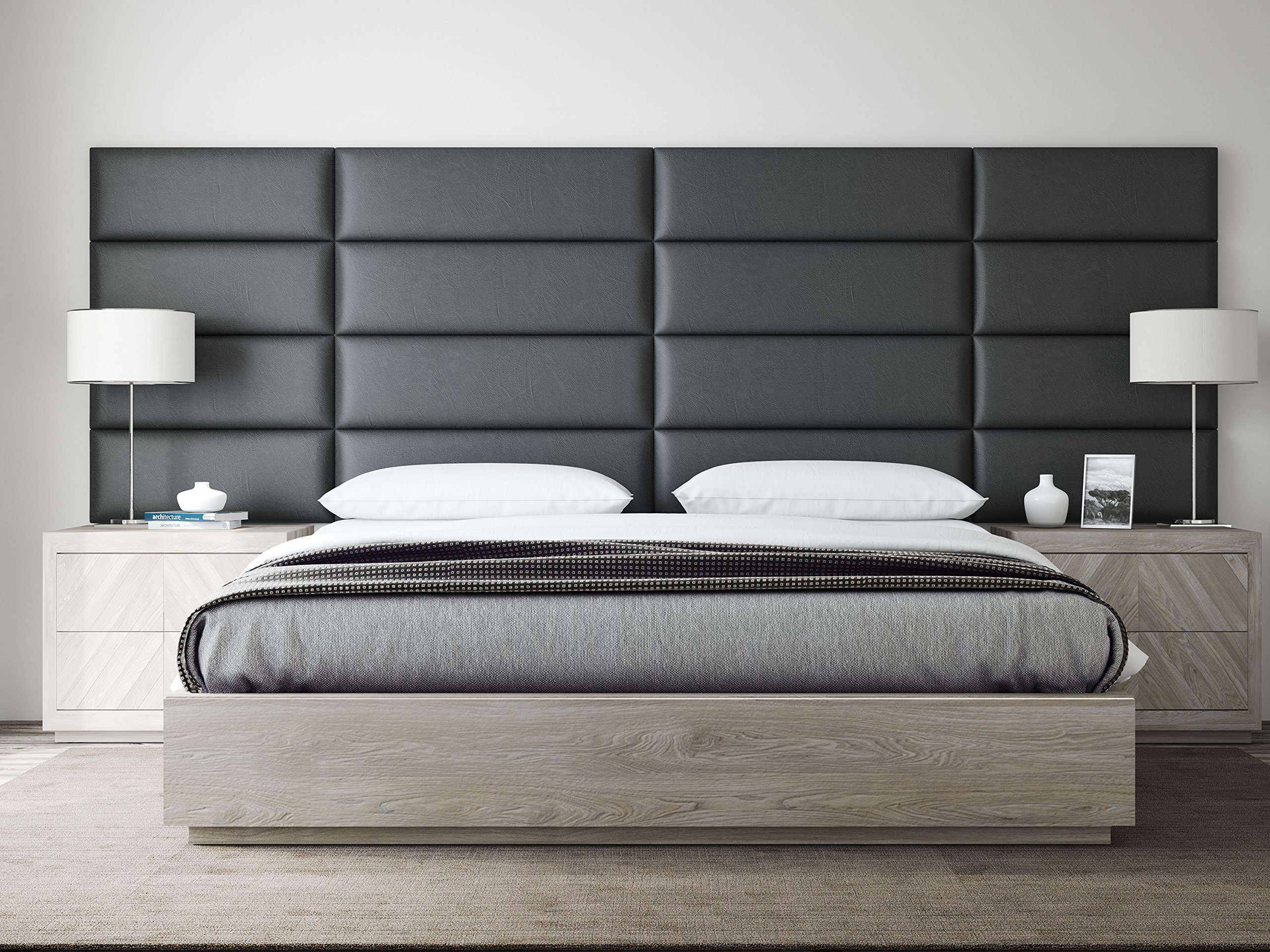 Get quotations · vant upholstered headboards accent wall panels packs of 4 vitage leather black coal