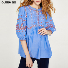 Lace Up Embroidered Ladies Blouse CottonTops