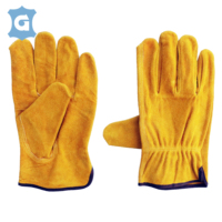 Cow spilt leather yellow farm work garden work industry construction heavy duty working gloves