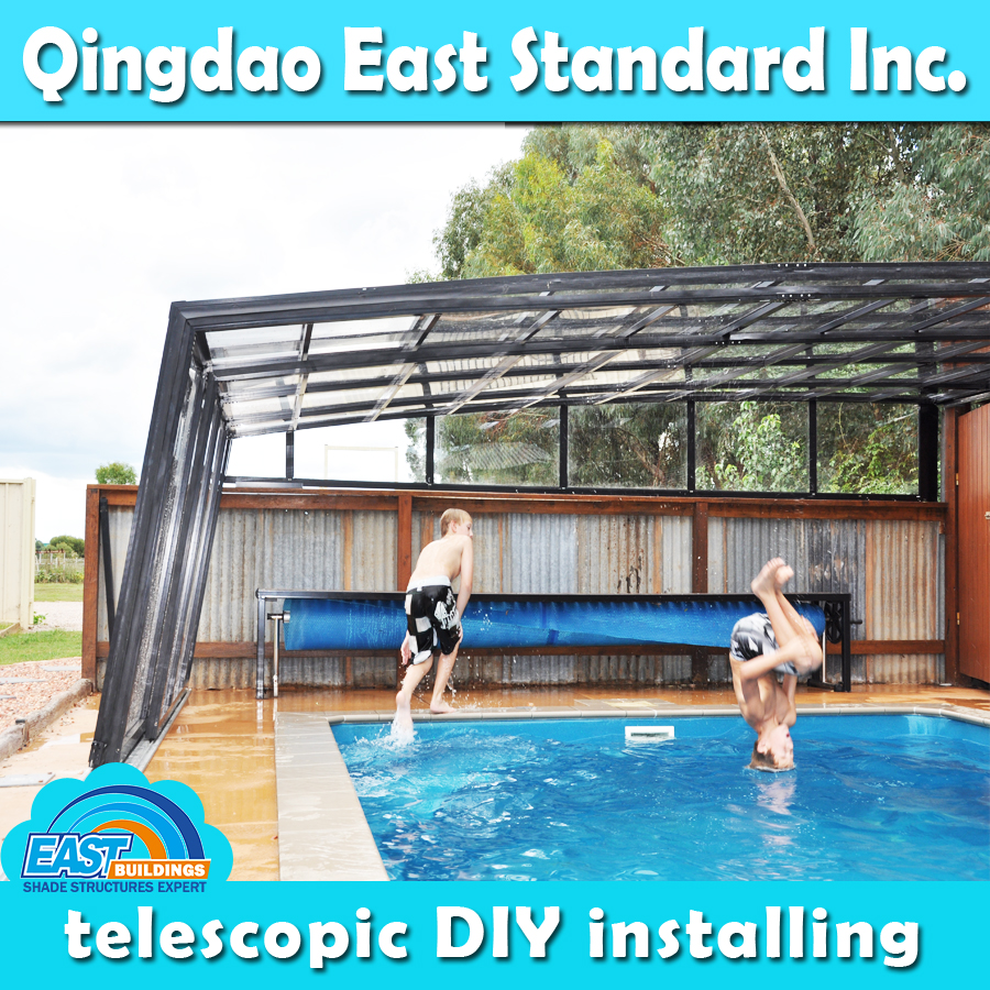 customizable clear polycarbonate aluminum retractable patio roof