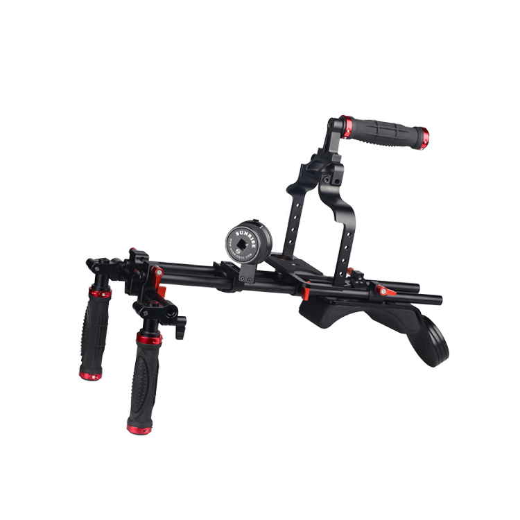 China Factory Direct DSLR Video Camera Schouder Rig Met Gearless Follow Focus En DSLR Kooi