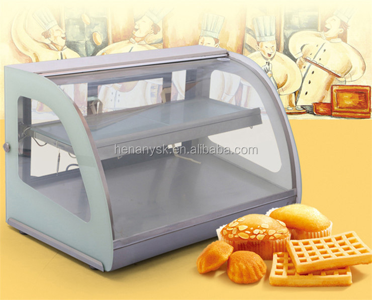 Commercial Desktop Arc Thermal Insulation Bread Egg Tart Food Cake Warming Glass Food Warmer Display Showcase