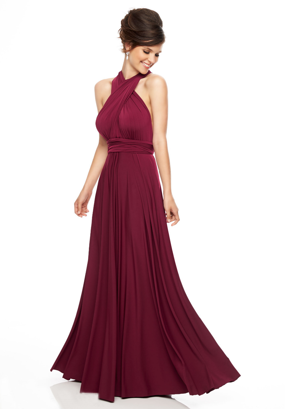 Get Quotations · Sexy red wine long chiffon bridesmaid dresses 2015 halter  pleated plus size wedding party dress gaun 1f53ca18e6