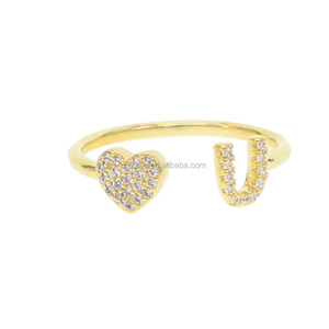 Gold filled i love you open rings with aaa cz paved women finger rings for Valentine's Day rings