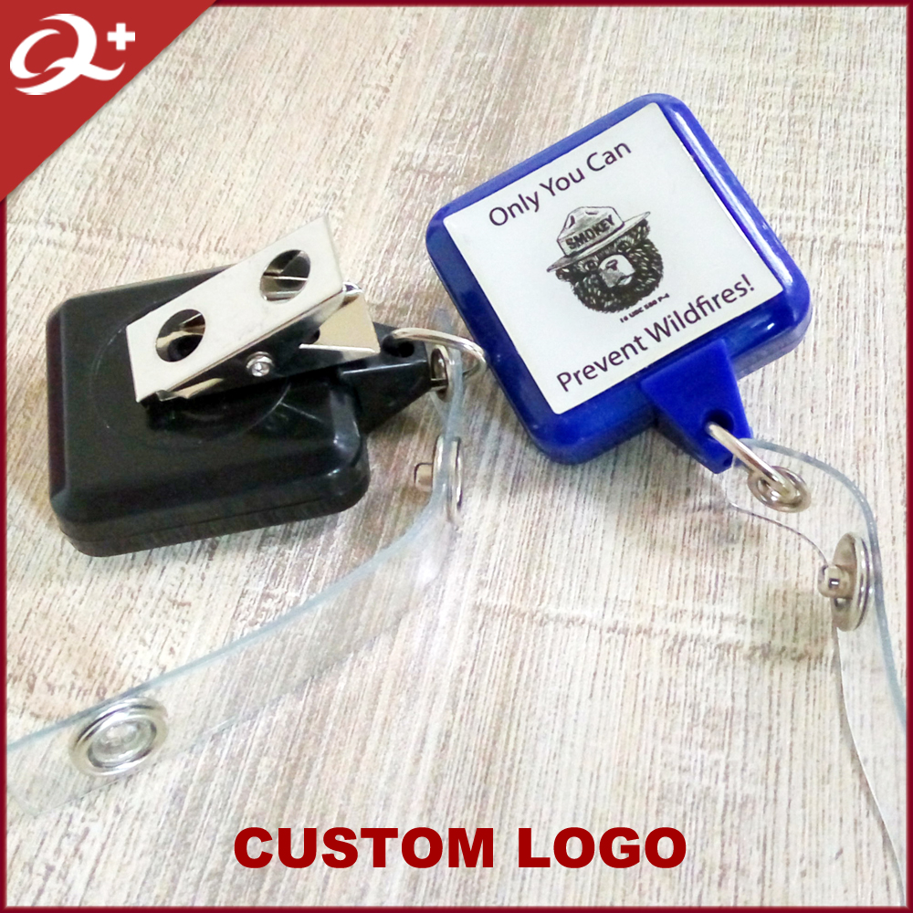 DIY square retractable badge holder pull reel with rotating clip