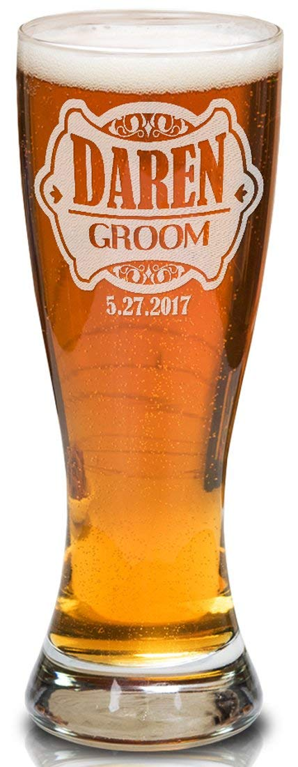 Custom-Engraved-Glasses-by-StockingFactory Retro Pilsner Beer Mug Personalized Man Mug Fathers Day Daddy Birthday Present Groom Groomsman Engraved Wedding Party Gift Bachelor Bash Favors