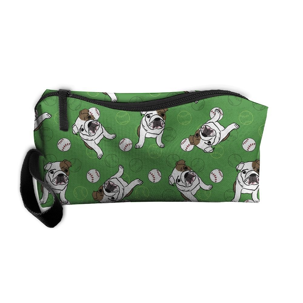 GS-wall English Bulldog Baseball Sport Ball Green Pattern Portable Make-up Receive Bag Hand Cosmetic Bag Makeup Bag Sewing Kit Medicine Bag For Home Office Travel Camping Sport Gym
