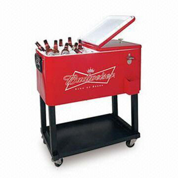Stainless Steel Patio Ice Cooler/Beverage Cart With 76L Volume, Suitable  For Indoor Or