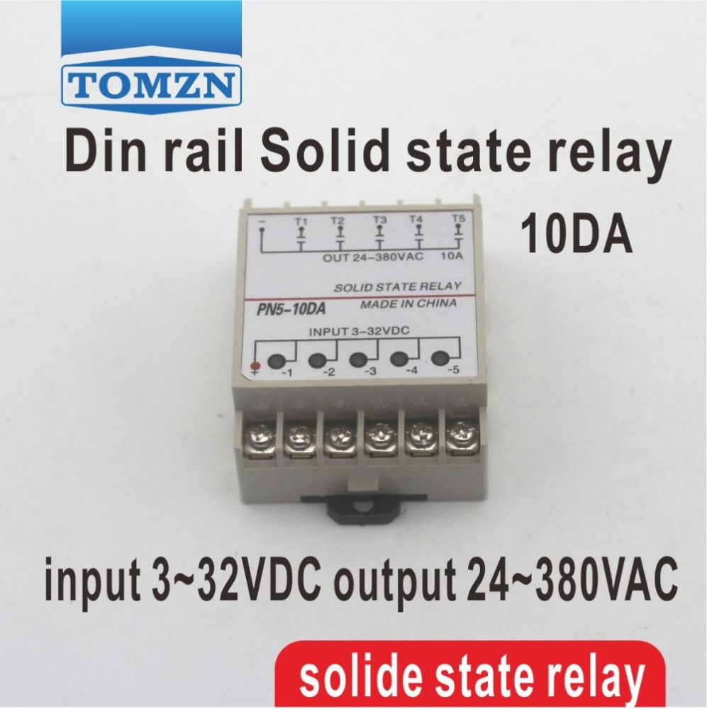10da 5 Channel Din Rail Ssr Quintuplicate Five Input 332vdc Output Solid State Relay For Dc 24380vac Single Phase Buy Product On