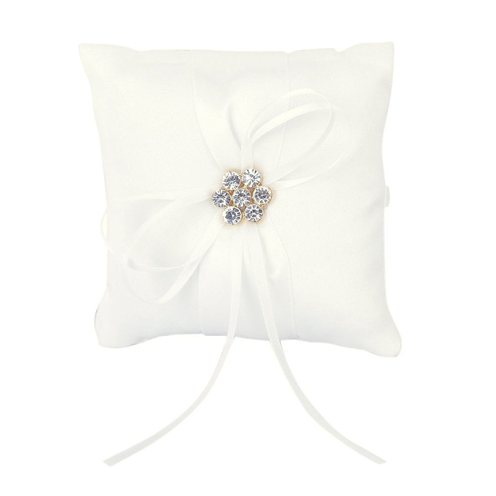 Tinksky Rhinstone Wedding Ring Cushion Ring Bearer Pillow with Ribbons 10*10cm(White)