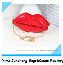 Lady Fashion Lip Shaped Shiny PU Cosmetic Clutch Bag Hand Bag with Gold Chain