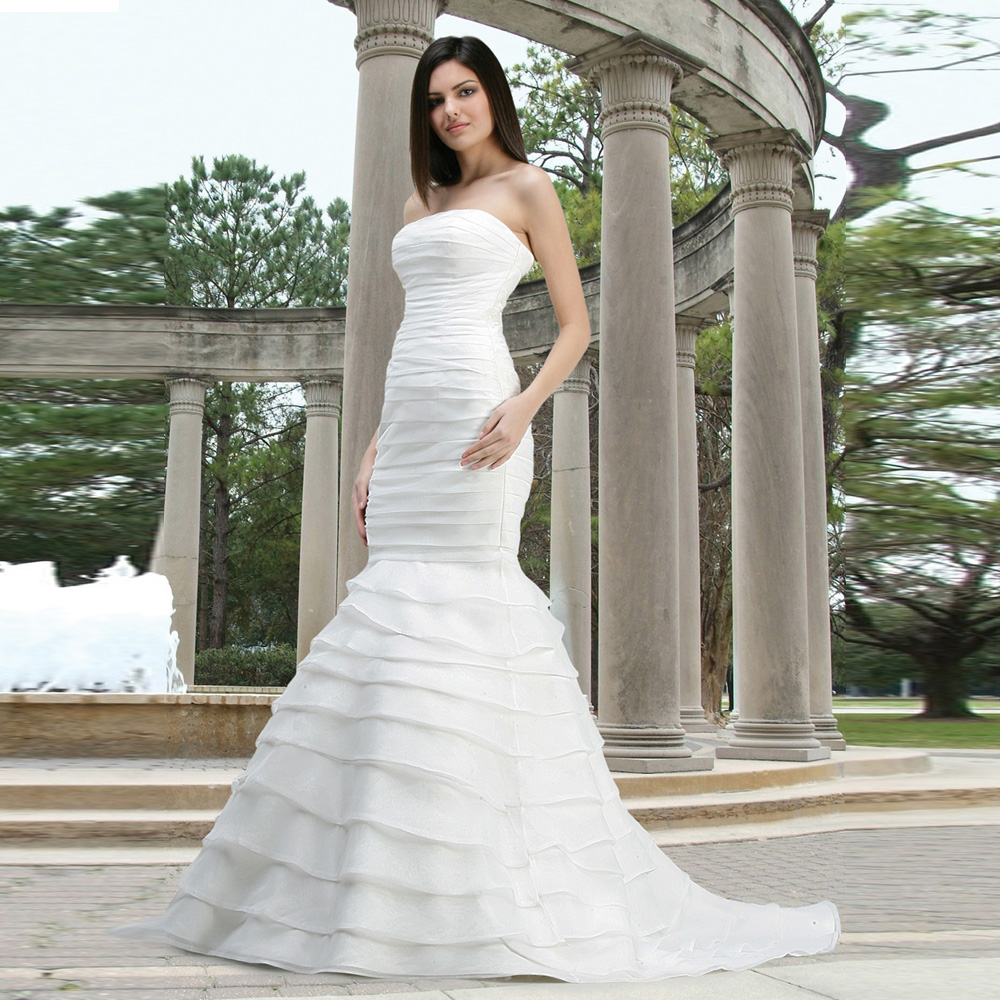 Wedding Gown Wraps: Elegant Custom Made Chiffon Strapless Bridal Gown Floor
