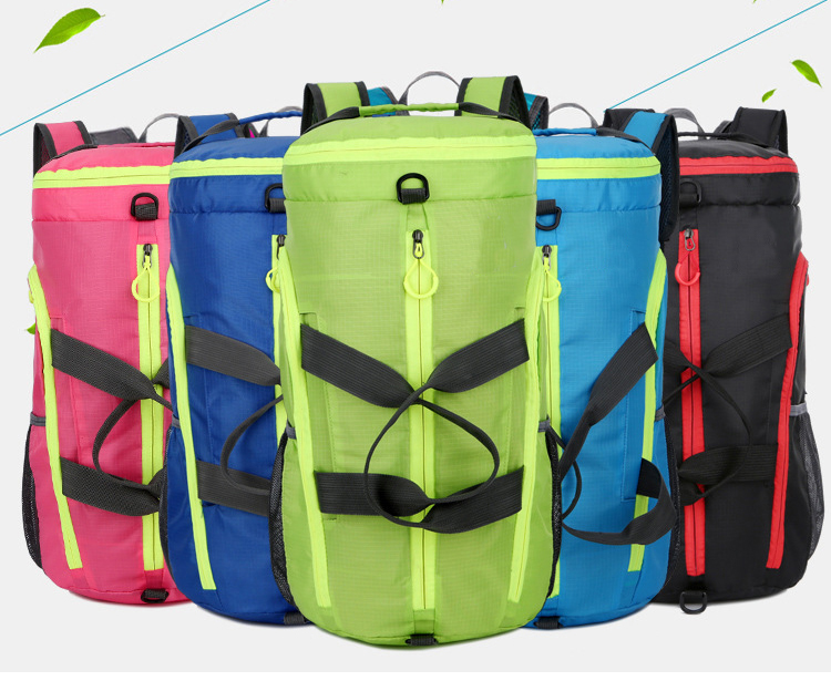Custom BackpackLogo With Shoe Compartment Woman Women Bag Folding Men Sneaker Foldable Sport Duffel Gym Travel Workout Bag
