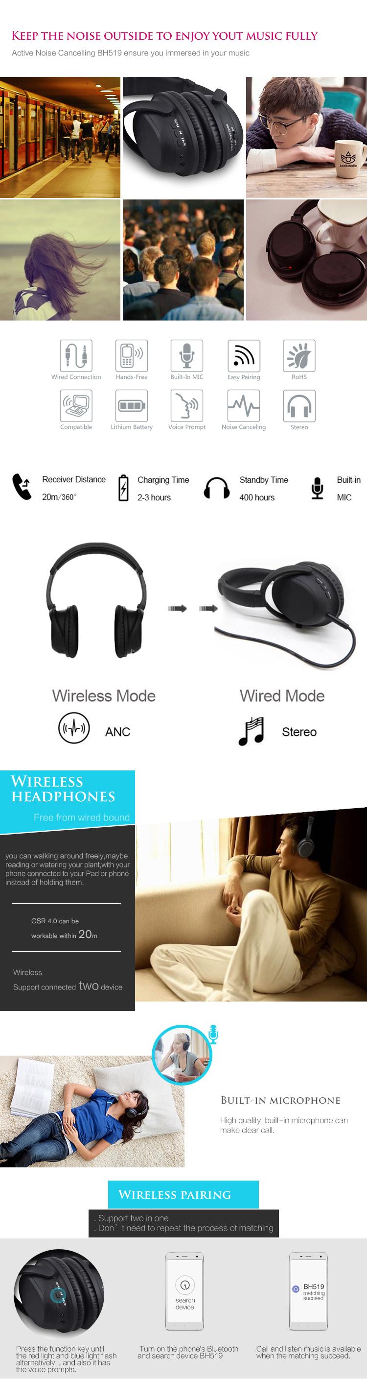 Fabrika oem HiFi stereo kulaklık aşırı kulak aktif gürültü iptal kulaklık gürültü iptal kablosuz kulaklıklar ile ANC