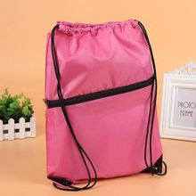 Latest arrival different styles zip decoration latest polyester plain tote bags with rope