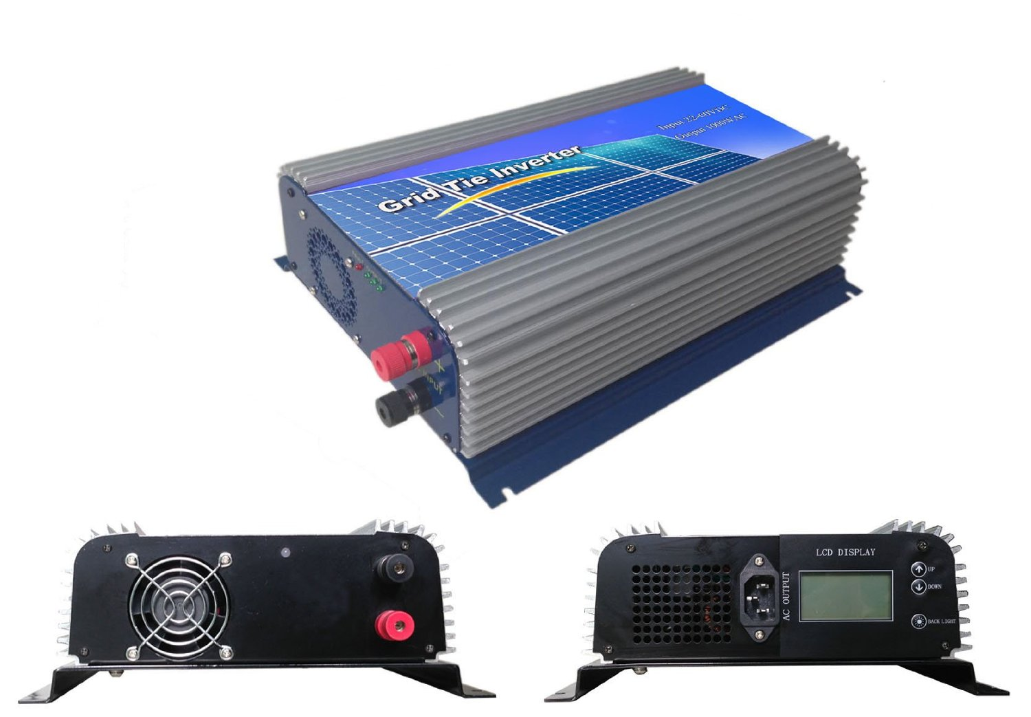 DECEN 1000w High Efficiency Pure Sine Wave Grid Tie Inverter,45-90vdc,110vac,60hz,LCD Display for Home Solar System