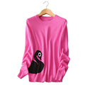 4 colors swan printing Women s slim fitting pullovers sweater pure cashmere full sleeve clothings autumn