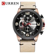 Мужские часы CURREN, спортивные, армейские, водонепроницаемые, с кожаным ремешком, кварцевые(Китай)