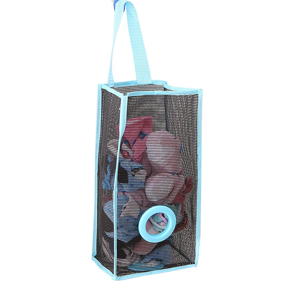 Eworld Breathable Mesh Storage Bag Dispenser Hanging Grocery Bag Container Plastic Reusable Garbage Bag Saver Organizer Wall Mount Plastic Bag Holder for Kitchen Bathroom Office (Medium, Blue)
