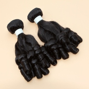 Virgin sexy funmi hair double drawn bundles with closure, aunty funmi curly virgin human hair