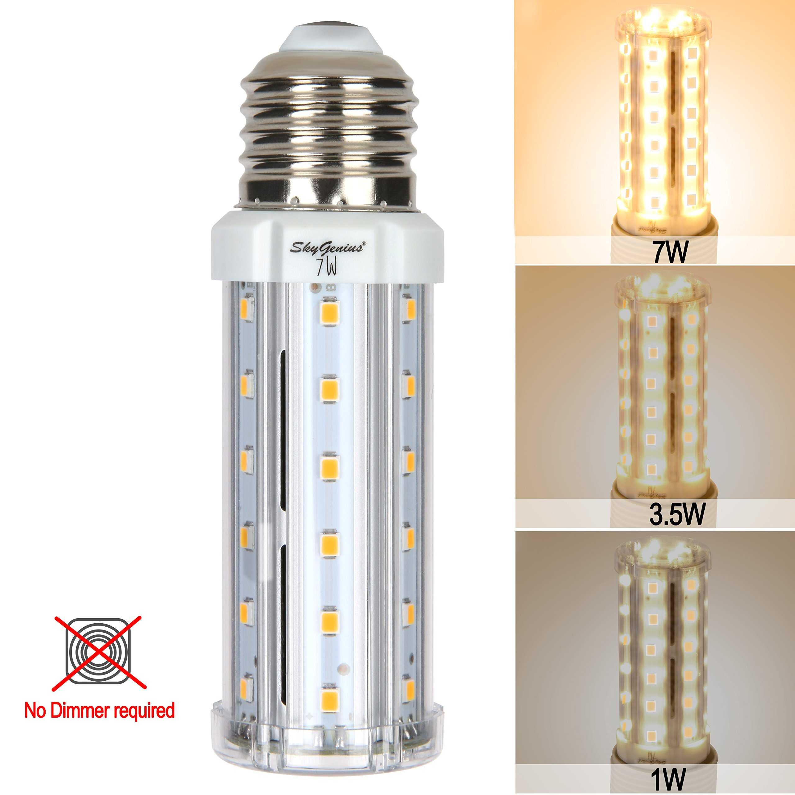 3 Way LED Corn Light Bulb Warm White 7/3.5/1w E26 Socket 3200K,70/35/10w Incandescent Equivalent,3 Way CFL Replacement,Brightness Switchable for Chandelier Reading Table Floor Bedside Nightstand Lamps