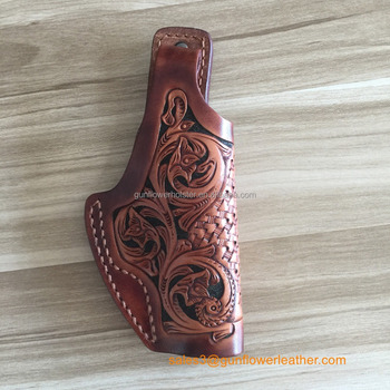 Custom Western Cowboy Hand-Carving Leather OWB Gun Holster for All Gun Model