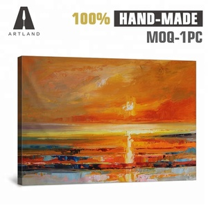 Beautiful modern abstract art sunset painting