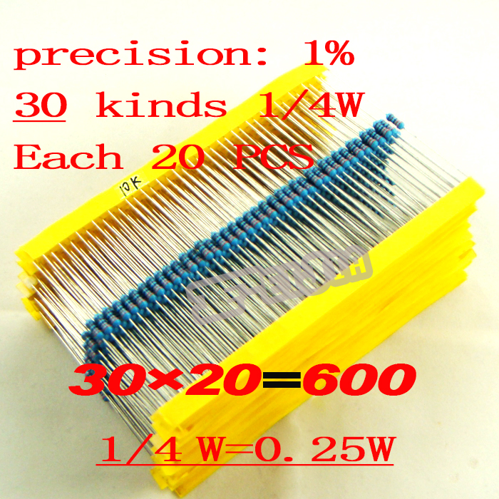 30Kinds 1/4W 0.25W <strong>Resistance</strong> 1% Metal Film Resistor Assorted Kit Each 20pcs 1ohm~1Mohm Total 600pcs/pack Free Shipping