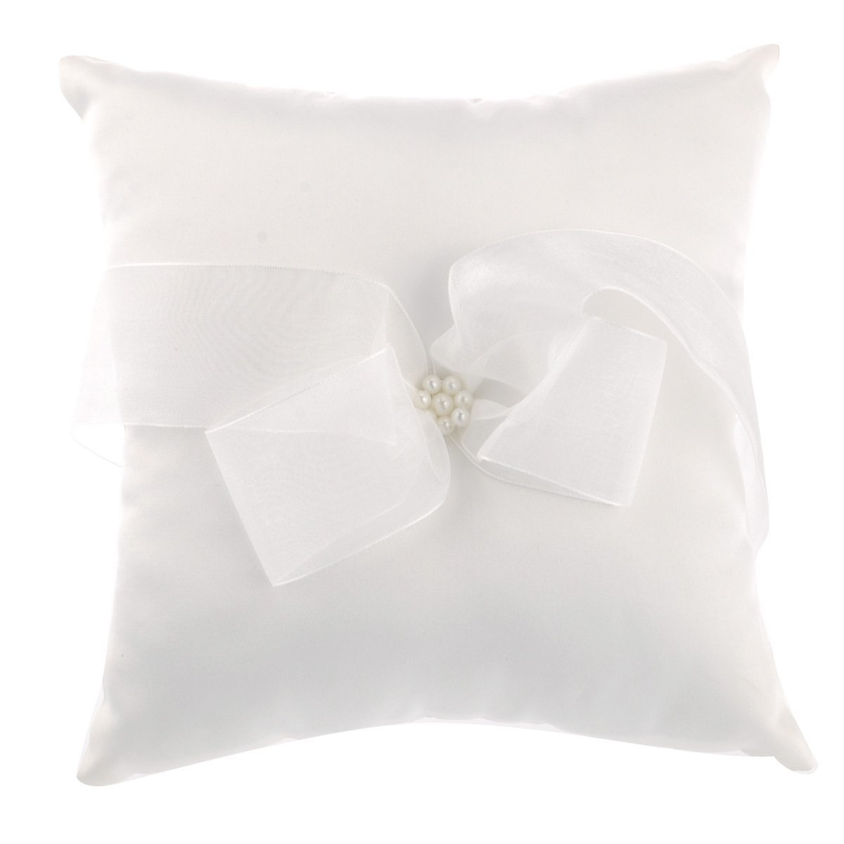 Tinksky 2020cm Satin Bowknot Ribbon Bridal Wedding Ceremony Ring Bearer Pillow Pearl Cushion (White)