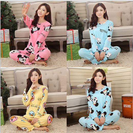 2015 new sweet cotton womens pajamas Animal printing little cat Indoor Clothing Home Suit Sleepwear Winter