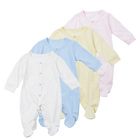 Organic Cotton Winter Infant Romper with Foot Button Baby Long Sleeve Romper