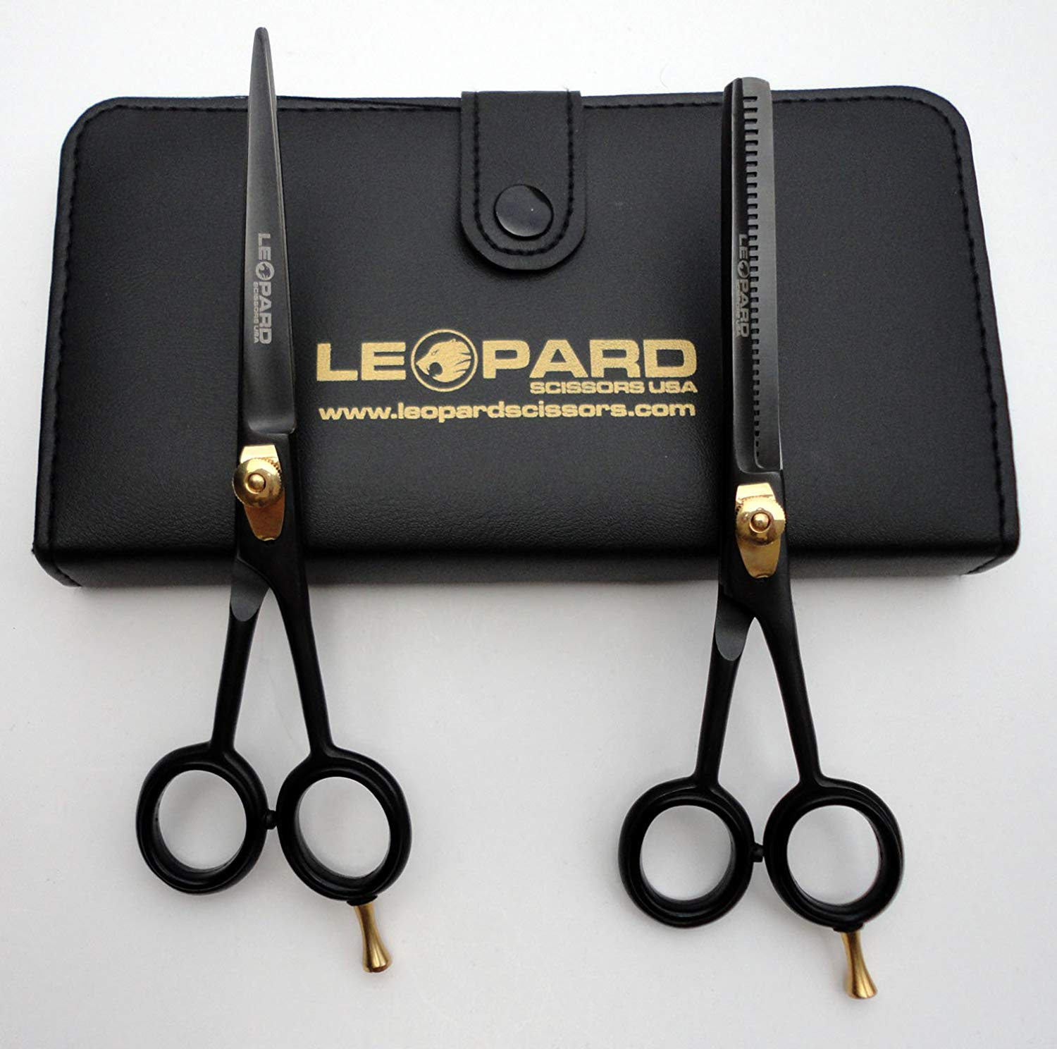 "New Professional Hairdressing Scissors & Thinner Hair Cutting Right Hand Shears Barber Salon Styling Scissors Set 6.5"" Japanese Steel with Free Case Leopard Shears Bs-301"