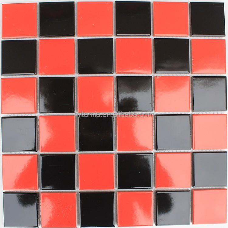 أسود أحمر رخيصة أرضية الحمام بلاط الفسيفساء الخزفية فسيفساء معرف