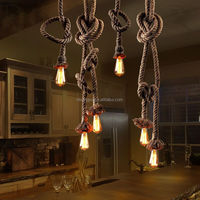 Cheap hemp rope pendant lamp handmade vintage with pair bulbs rural lamp