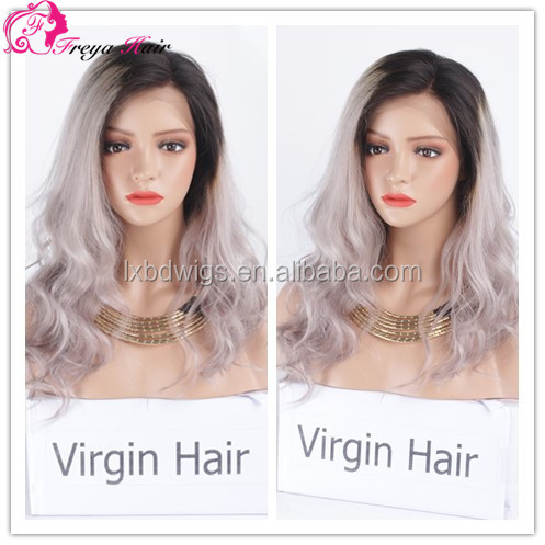 Freya hair hot sale 100% human brazilian ombre colour 1BT gray remy hair 130% density 10-26 inch front lace wig