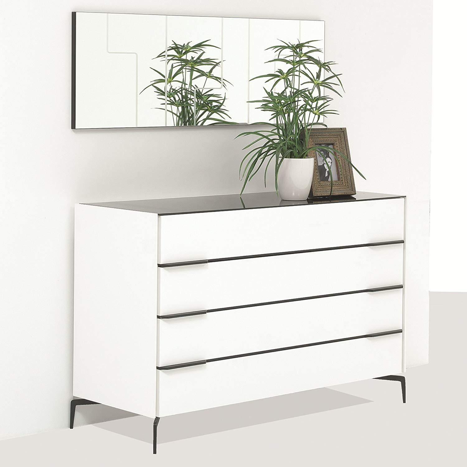 Adam and Illy COR0170 CORA Chest of Drawers W/Mirror, Glam Black/White
