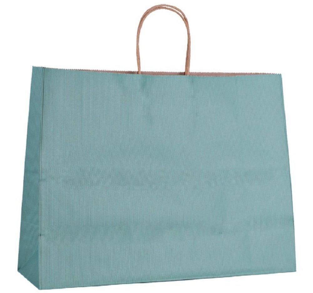Shopping Bags. Pack of 25 Grocery bags 16 x 6 x 12. Kraft paper bag with handles. Teal, mint, green color. Large size. Reusable & Retail & Merchandise & Shop & Carry. Premium Quality. Mfg# 16x6x12 50