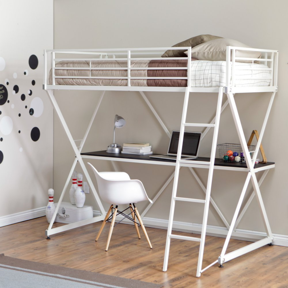 Get Quotations · Duro Z Bunk Bed Loft With Desk   White
