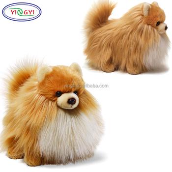 D684 Fluffy Pomeranian Dog Toy Stuffed Animal Life Size Real Plush