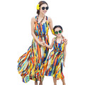 Bohemian New Summer Mom and Daughter Dress Matching Family Clothes Girls and Mom Dress Sleeveless Beach