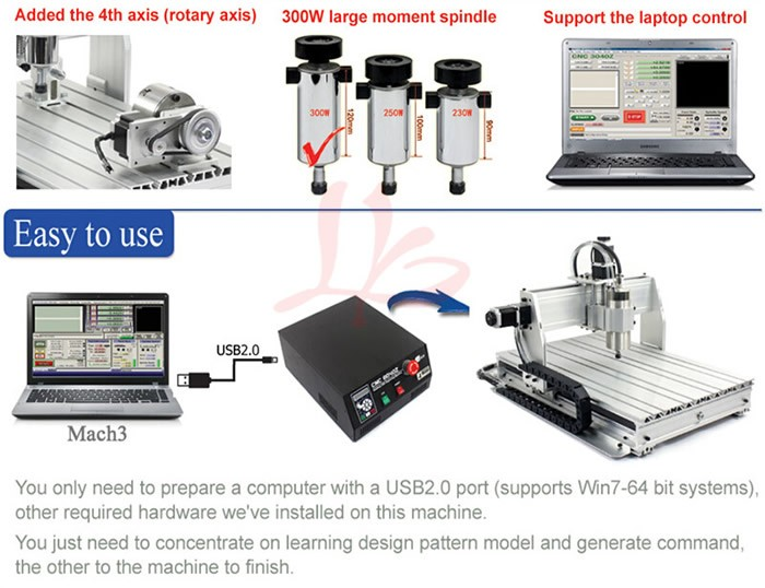 CNC woodworking router machine 3040ZQ-USB 4axis mini cnc machinery with mach3 remote control