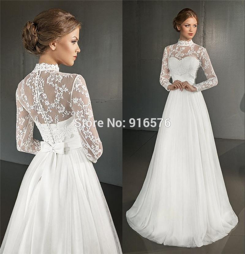 Greek Wedding Dresses: Greek Wedding Dresses 2016 A Line High Neck Long Sleeves