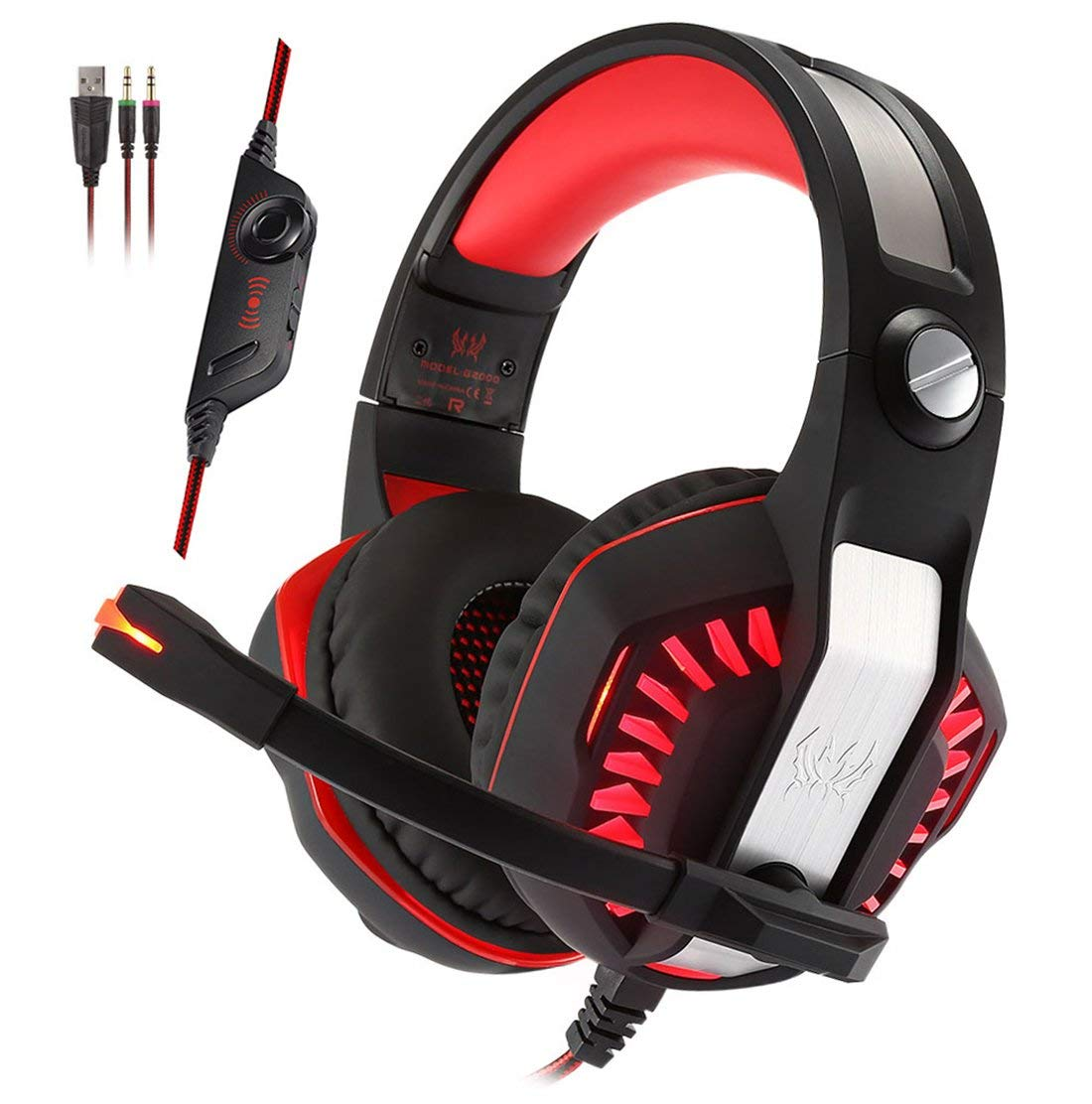 KOTION EACH G2000 2.0 Vibration Over-ear Gaming Headset with Mic 3.5mm, 2.2m Cable, Volume Control, LED Light Noise Reduction Headphones for Computer Games, PS4, Laptops, Tablet, Smartphones (Red)