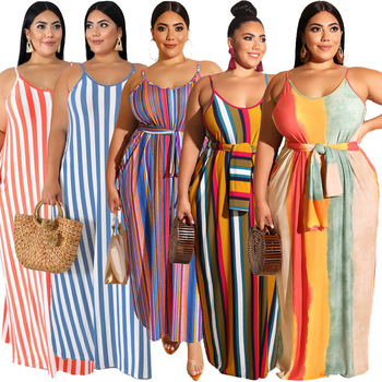 2019 Cross-Border Explosion Models Plus Size Women Striped  Loose Belt  Dress Summer