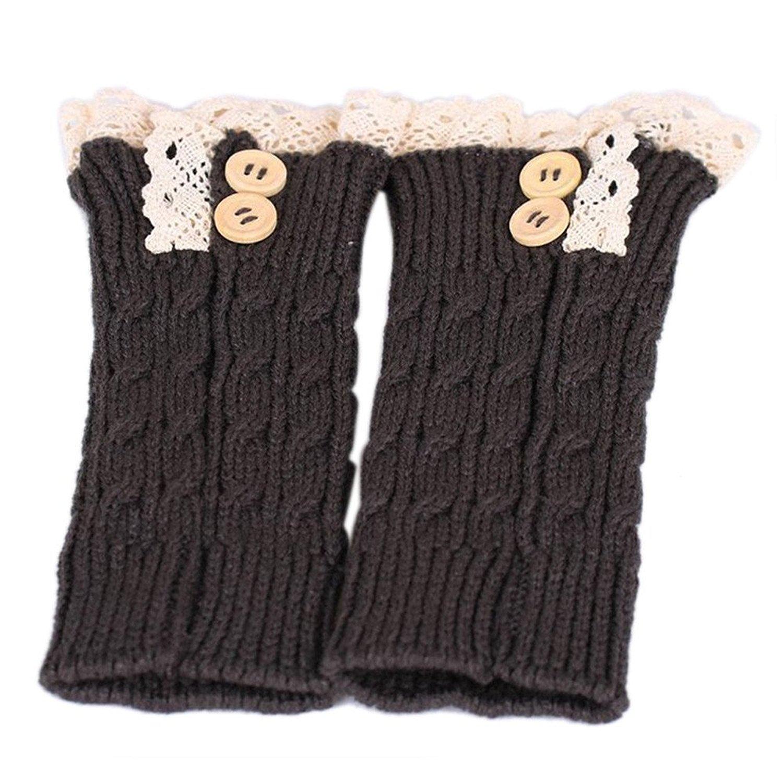 Mromick Womens Lace Stretch Boot Leg Cuffs Leg Warmers Socks Topper Cuff Lace Acrylic fibres Socks